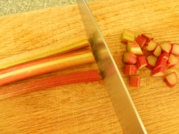 Chop rhubarb and large berries into bite sized pieces.