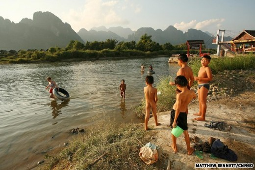 Would you want your child to grow up here?  Native children of Vang Vieng are now forced to grow up in a very unhealthy environment, polluted by drugs and partying all times of the year.