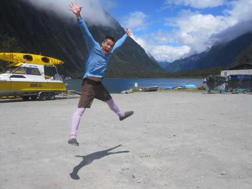Taking some time to celebrate after conquering kayaking at Milford Sound