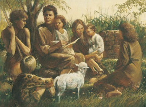 Adam and Eve had a unified covenant relationship. Adam and Eve Teaching Their Children, by Del Parson. © 1978 IRI.