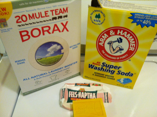 These 3 basic ingredients are all you need to make laundry detergent. Borax, Washing Soda and Fels Naptha, all available at your grocery store.