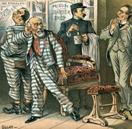 """The Prison Barber Shop,"" by B . Gillam from Puck magazine, July 8, 1885"