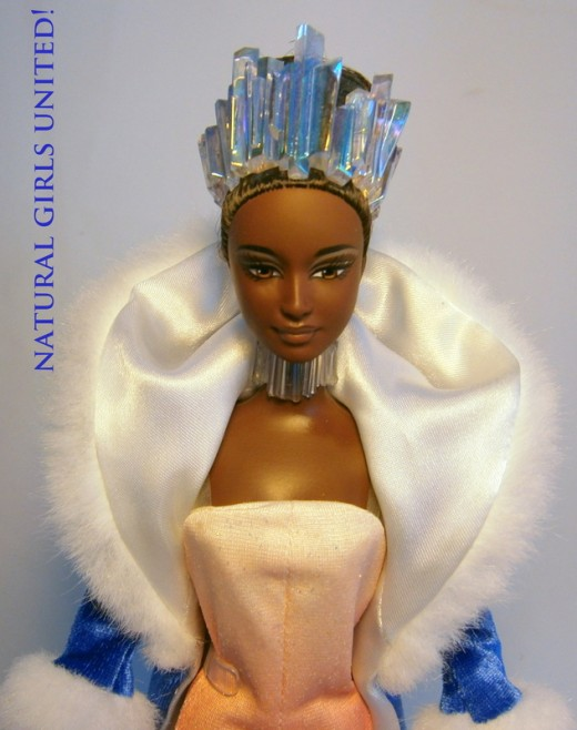 Beautiful Crystal-Ice Queen Barbie: This doll is a collector's item that was made in 1988. I am unsure of her original name, so I named her after her cool crystal-like crown and necklace. She comes with long pantsuit outfit and a velvet/satin/fur blu