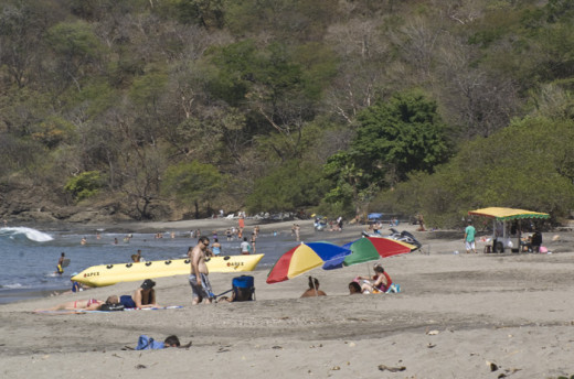Playa Hermosa, a busy beach near Playas Coco and across the bay from Papagayo Peninsula.  There are two large resorts on the north end of the beach, Condovac and Villas del Sol.