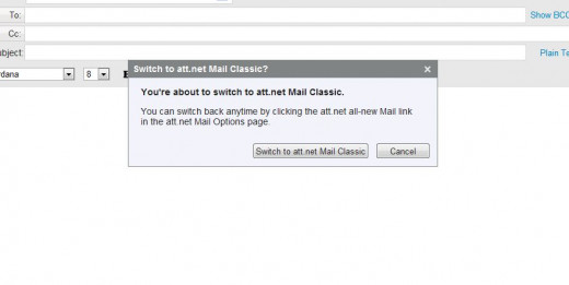 The window that opens when you start your switch to Yahoo Mail Classic.
