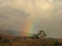 The mountains in the Cordillera Guanacaste are frequently cloud-covered, but the private reserve known as the Monteverde Cloud Forest is most commonly known.  Near the mountains you can often see diffuse rainbows like this one.