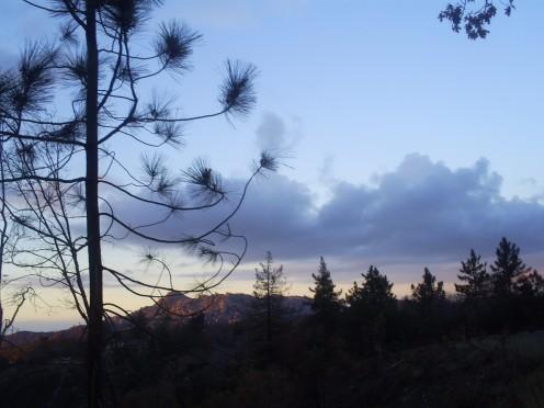Cloudy sky looking towards The Pinnacles.