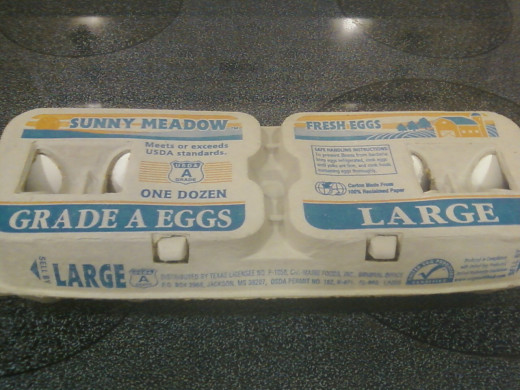 This pic is in case you don't know what a carton of eggs looks like - btw, they're in the dairy aisle.