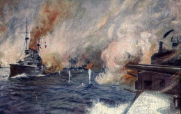 This is a postcard based on a painting that depicts the Battle