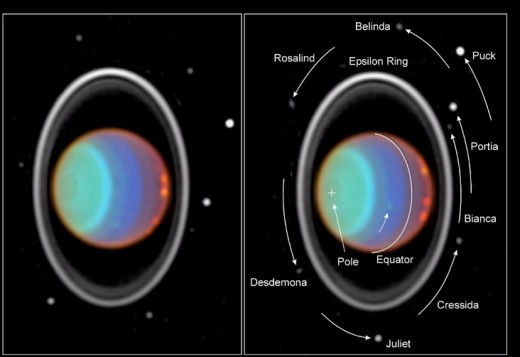 The rings and moons of Uranus. Two infrared images taken ninety minutes apart capture the planet's rotation in false color. (Note the cloud that's moved.)