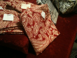 Velvet cusions, paisley drapes, black and white shower curtain, comforters