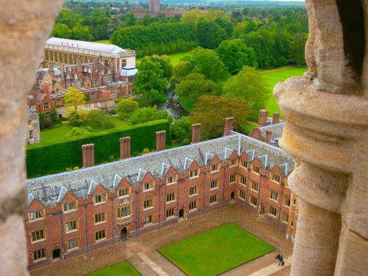 Cambridge's roofs as seen from the St John's College Chapel tower. Photo by Flysky