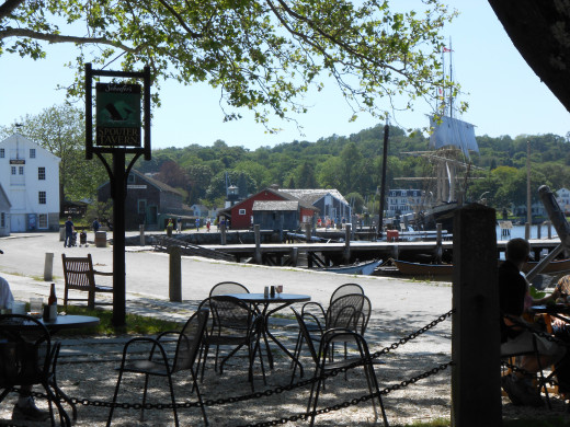 A view of the waterfront while sitting at the outside tables at the Spouter Tavern. The Tavern is open daily in summer hours and serves sandwiches, soups, beer, wine and soda.