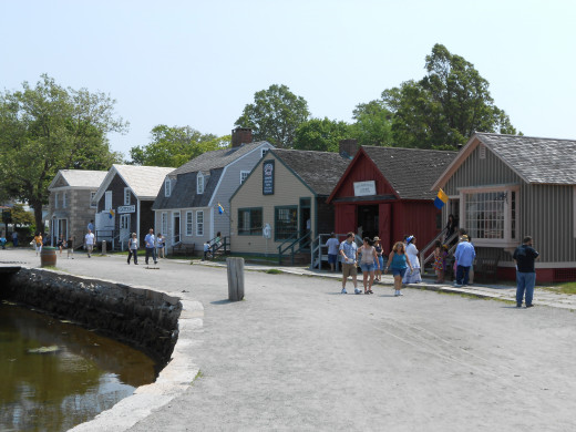 View of the waterfront stores and homes open to visitors to step back in time and see demonstrations of maritime occupations and skills.
