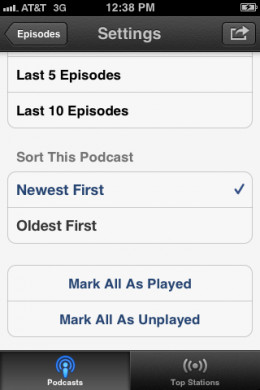 Select whether you want the newest or oldest podcasts to appear at the top.