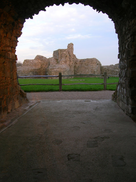 Inside the Keep, Pevensey Castle Viewed from the locked gates in the gatehouse.