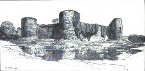 Pevensey Castle, old book illustration