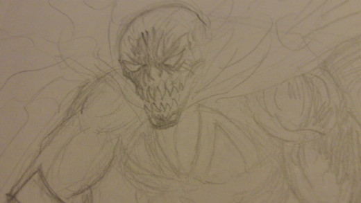 A rough Spawn sketch just to get a feel for the character. Drawing by Wayne Tully.