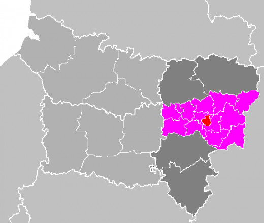 Map location of Laon canton and 'arrondissement', Aisne, France