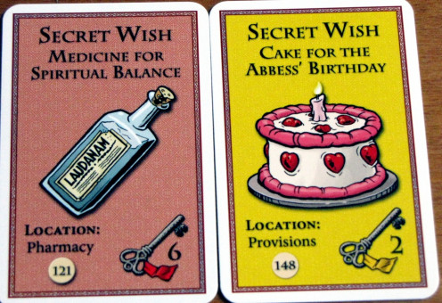 Two of the novice's secret wishes. They must collect the correctly numbered key, and their wish from the indicated circle