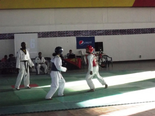 A picture taken from the 1st National Taekwondo Championships in Port Moresby. We were there to cover the event.