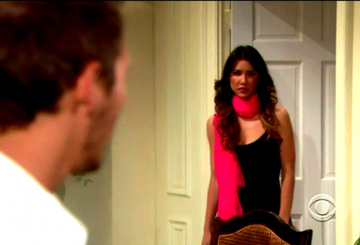 Steffy hid in the bathroom while Hope and Liam spoke.
