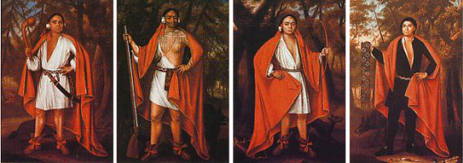 Four Mohawk Kings painted by Jan Verelst, 1710. From left to right: Etow Oh Koam (actually a Mahican), Sa Ga Yeath Qua Pieth Tow, Ho Nee Yeath Taw No Row and Tee Yee Ho Ga Row.