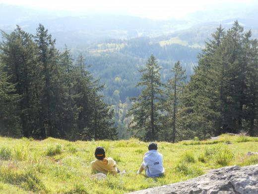 Jonny and Wyatt on a mountain overlooking Eugene , Oregon,