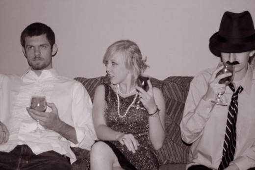 A Gatsby party with Tom, Myrtle, and Nick