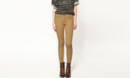 Skinny Trousers with Zipped Hems in Camel