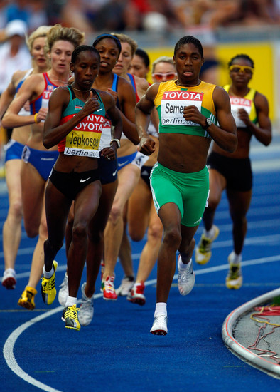 (L-R) Janeth Jepkosgei of Kenya and Caster Semenya of South Africa compete in the women's 800 Metres in past Championships