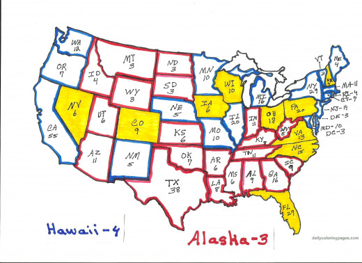The states in yellow are considered swing states in 2012.  The states outlined in red are expected to go Republican, the states outlined in blue are expected to go Democratic, in the November 2012 presidential election.  This map may change as the el