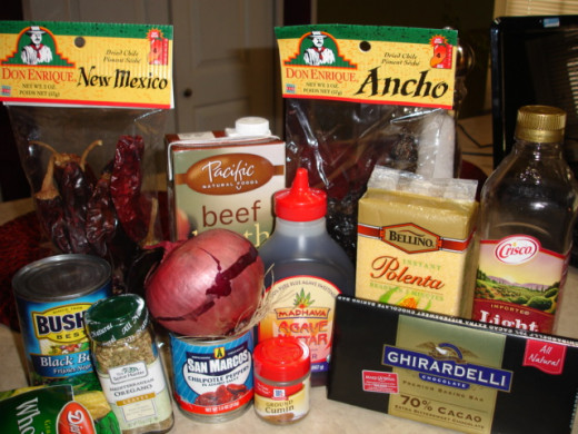 Ingredients for Authentic Mexican Short rib chili with creamy polenta