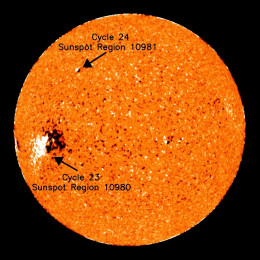 First official sunspot belonging to the new Solar Cycle 24.