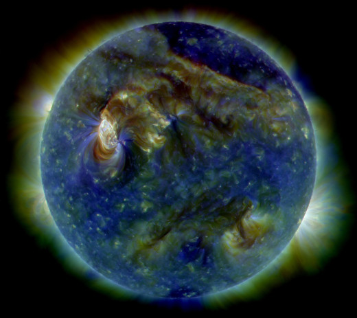 On August 1, 2010, almost the entire Earth-facing side of the sun erupted in a tumult of activity. This image from the Solar Dynamics Observatory of the news-making solar event on August 1 shows the C3-class solar flare (white area on upper left), a