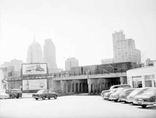 Skyline view looking southwest from junction of northeast 4th & Harrison Ave., Oklahoma City: Taken March 23, 1955