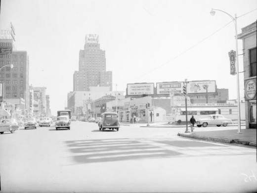 View looking east form 420 W. Grand Ave., Oklahoma City; Taken March 28, 1955 ...I'm just wondering, where are the street lines?