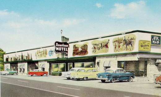 "Downtown Motel, 1950s: 2719 E 11th Street, closest in on U.S. Route 66. The 170 foot mural erected on this motel shows the progress of Tulsa from a small country town to the ""Oil Capitol of the World"". An interesting aside: The phone number given for"
