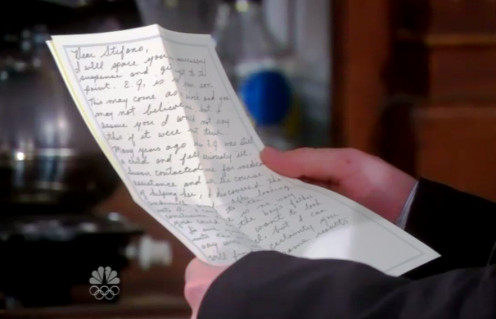 Will finds the letter Alice Horton wrote to Stefano explaining EJ is not his son.