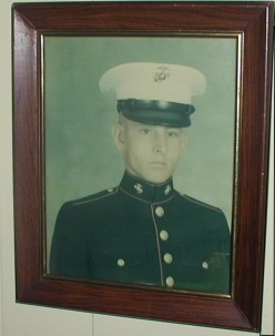 USMC photo, on my Dad's wall, boot camp photo of me as a graduate, from recruit to personified government war fodder