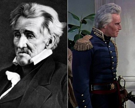 The real Andrew Jackson and Charlton Heston as Jackson in The Buccaneer (1958)