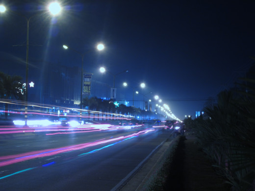 Tagum City Lights Light Trails from Vehicles ISO 80 f/5.9 8sec White Balance: Preset Manual