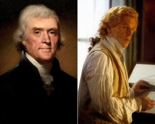 The real Thomas Jefferson and Nick Nolte as TJ in Jefferson in Paris (1995)