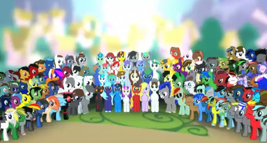 A Picture of the original characters designed by several Brony musicians. Brony Musicians raised money to build a hospital in Uganda