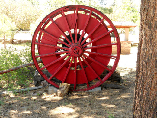 Lumber wheel, used to haul large loads of fallen trees