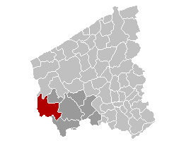Map location of Poperinge, West Flanders