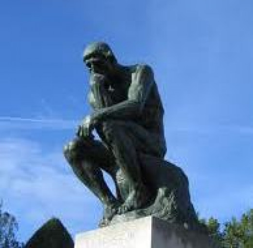 Sometimes man is a very thoughtful creature, as you can see from this statue. There are reasons to believe that a man by thinking many abstract things is able to put them together in a way that can solve a problem.