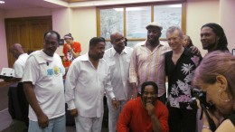 After the show,Winston Ferguson, Jerry Blake, Gerald Chavis, Paul Lee and Kerrie Little of  Point Blank pose with Peter White.