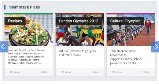 "One of my Stack titled [London Olympics 2012] was picked and listed on the ""Hotlist"" of  the Staff Stack Picks."