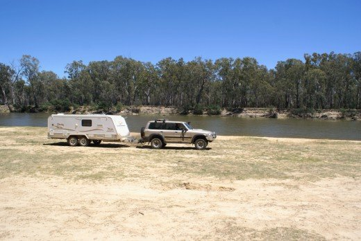 This is our new lifestyle. camping on the beach along the Murray river, great scenery and relaxing, but not good for fishing.  Although a friend caught a Murray Cod 4' long what a waste as would be too tough to eat. Actually we went back 2 weeks late
